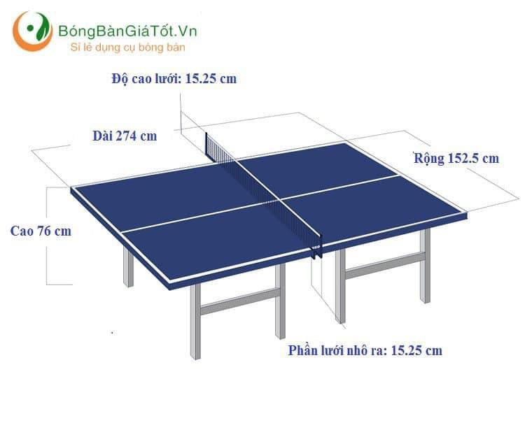 kích thước chuẩn bàn đánh bóng bàn